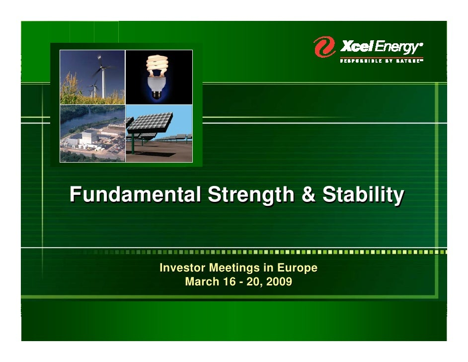 Fundamental Strength & Stability           Investor Meetings in Europe             March 16 - 20, 2009