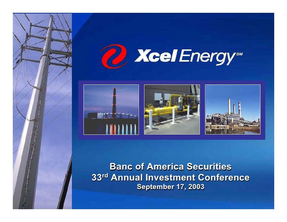 xcel energy  BofA_09/16/03