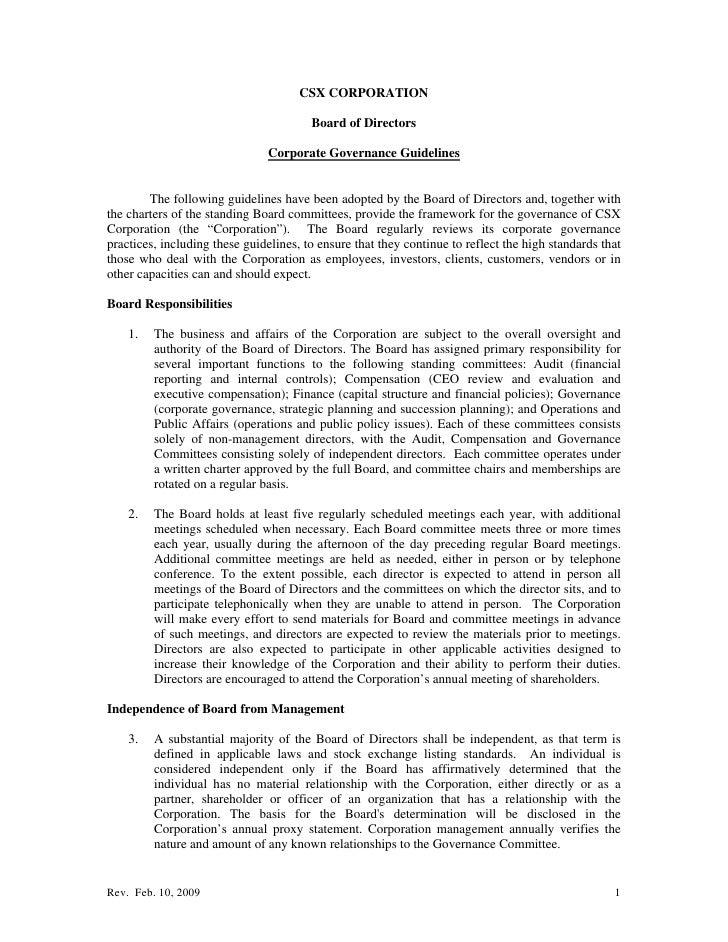 CSX CORPORATION                                          Board of Directors                                 Corporate Gove...
