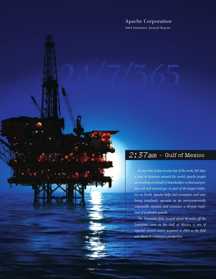 Apache Corporation 2004 Summary Annual Report                             – Gulf of Mexico  2:37am        At any time of d...