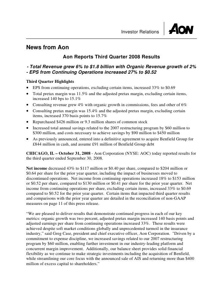 Investor Relations   News from Aon                     Aon Reports Third Quarter 2008 Results - Total Revenue grew 6% to $...