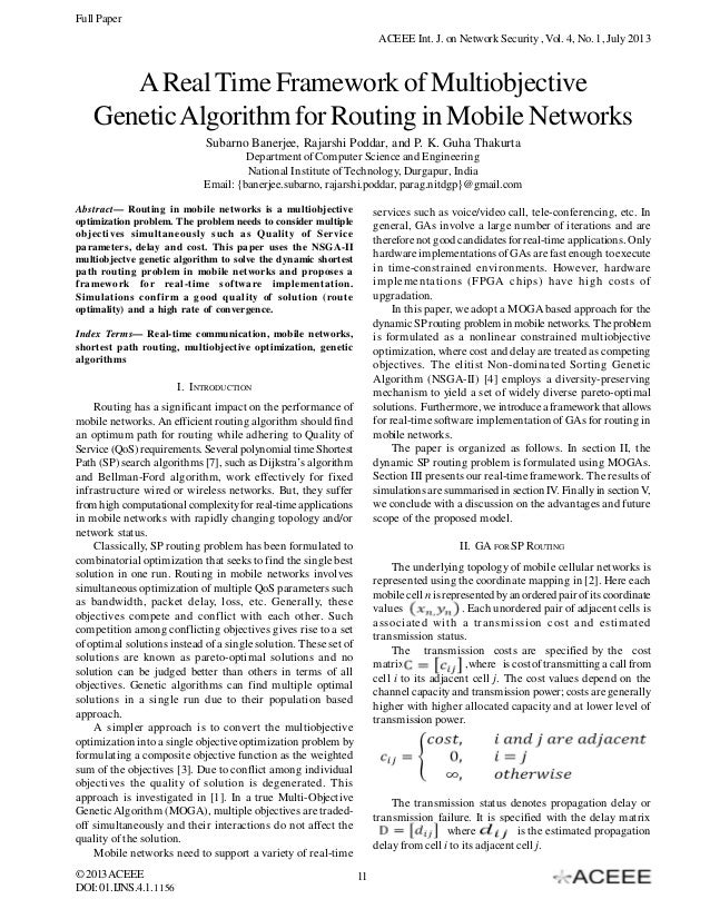 Full Paper ACEEE Int. J. on Network Security , Vol. 4, No. 1, July 2013  A Real Time Framework of Multiobjective Genetic A...