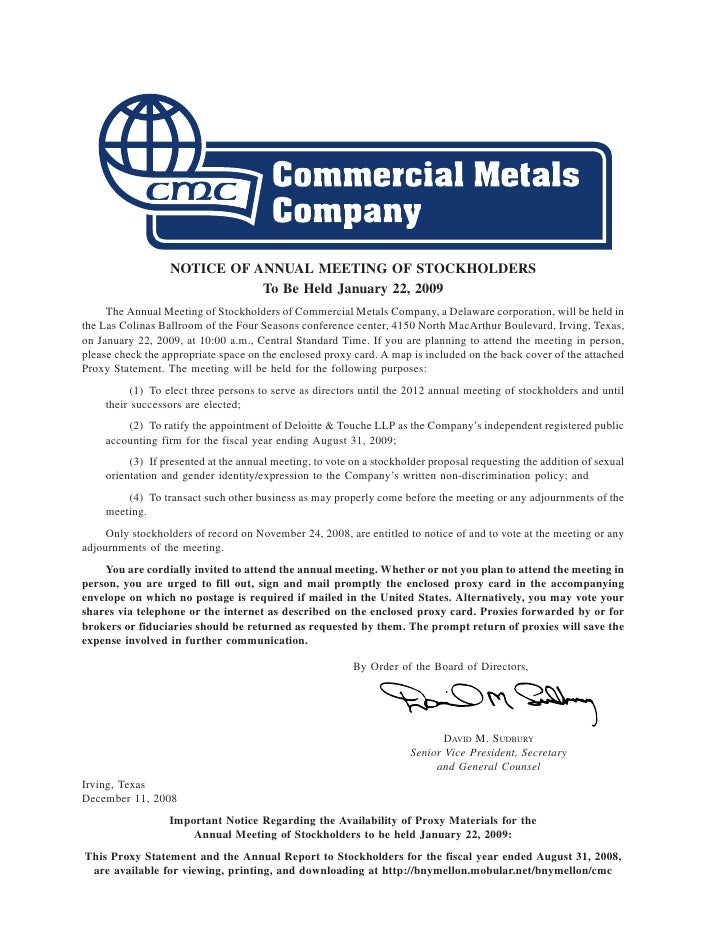NOTICE OF ANNUAL MEETING OF STOCKHOLDERS                              To Be Held January 22, 2009      The Annual Meeting ...