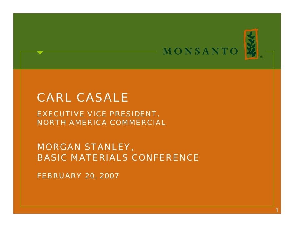 CARL CASALE EXECUTIVE VICE PRESIDENT, NORTH AMERICA COMMERCIAL   MORGAN STANLEY, BASIC MATERIALS CONFERENCE  FEBRUARY 20, ...