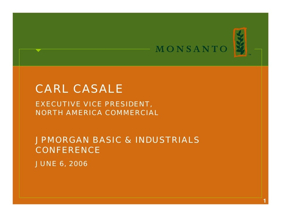 CARL CASALE EXECUTIVE VICE PRESIDENT, NORTH AMERICA COMMERCIAL   JPMORGAN BASIC & INDUSTRIALS CONFERENCE JUNE 6, 2006     ...