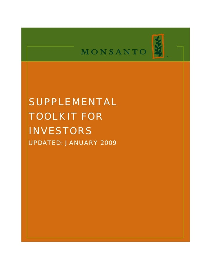SUPPLEMENTAL TOOLKIT FOR INVESTORS UPDATED: JANUARY 2009