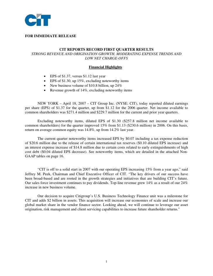CIT_Q1_2007_Earnings_Release