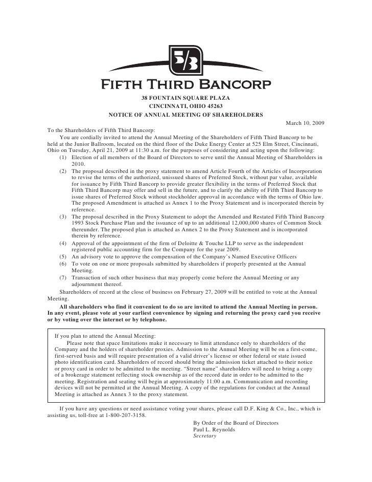 38 FOUNTAIN SQUARE PLAZA                                      CINCINNATI, OHIO 45263                          NOTICE OF AN...