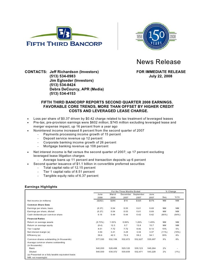 FifthThird 2Q 08 Earnings Release_Fina