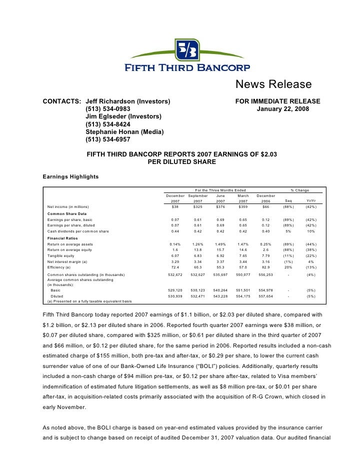 fifth third bancorp  Q4-07