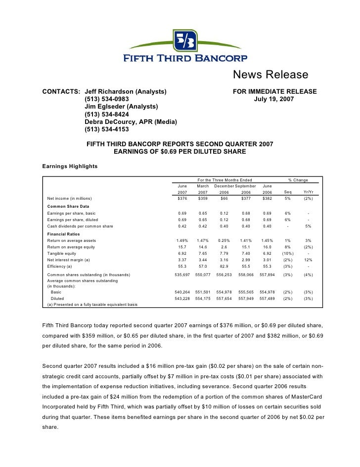 fifth third bancorp  Q2-07