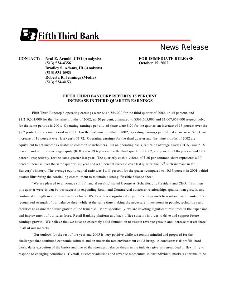 News Release CONTACT:          Neal E. Arnold, CFO (Analysts)                                    FOR IMMEDIATE RELEASE    ...