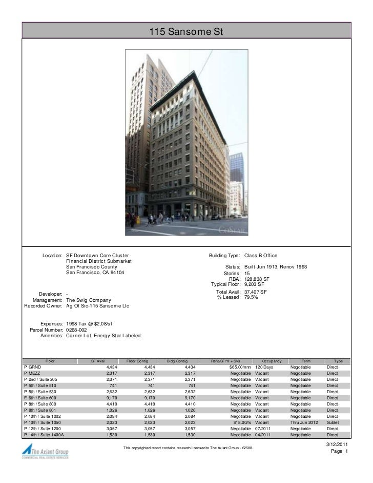 115 Sansome St           Location: SF Downtown Core Cluster                                                         Buildi...