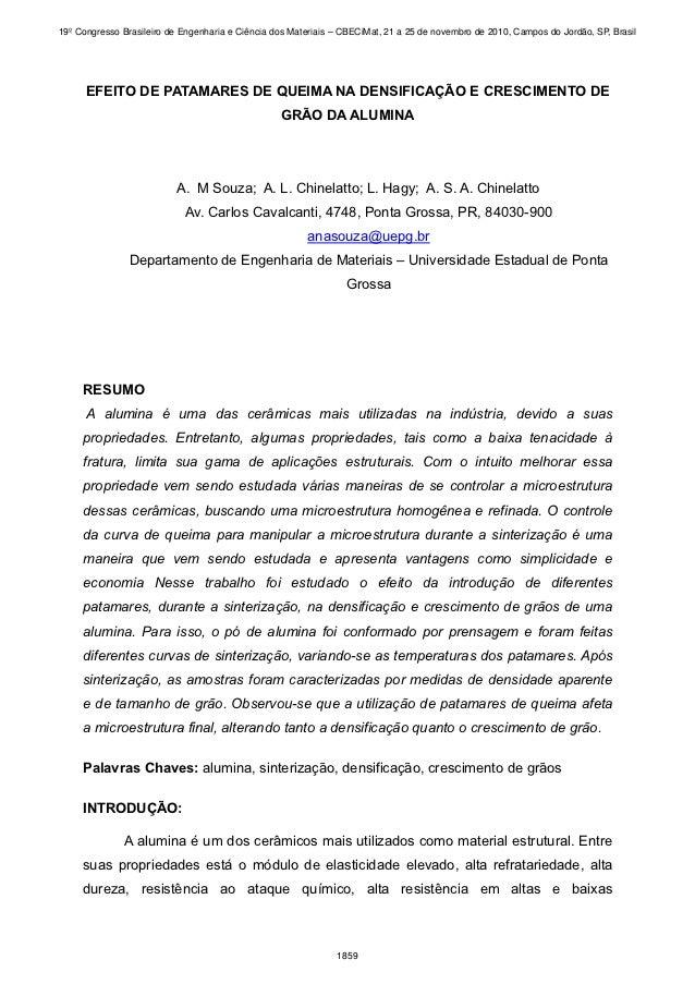 19º Congresso Brasileiro de Engenharia e Ciência dos Materiais – CBECiMat, 21 a 25 de novembro de 2010, Campos do Jordão, ...