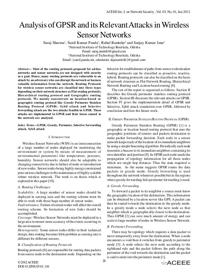 ACEEE Int. J. on Network Security , Vol. 03, No. 01, Jan 2012 Analysis of GPSR and its Relevant Attacks in Wireless       ...