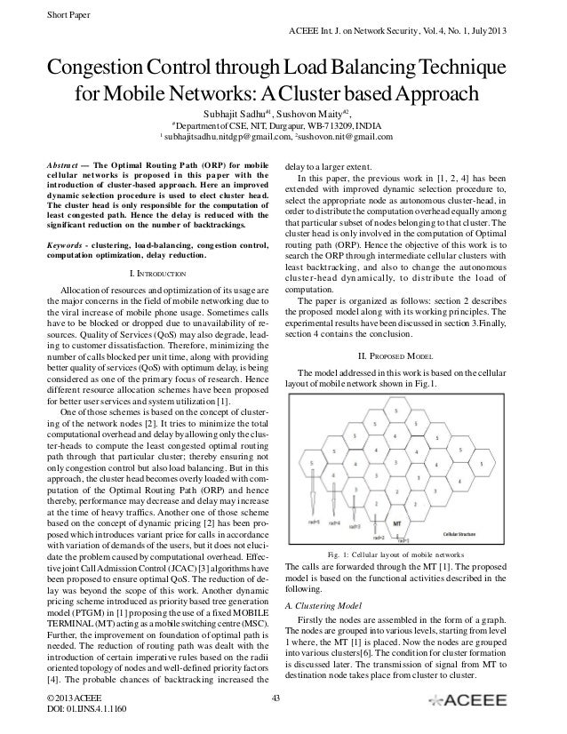 Short Paper ACEEE Int. J. on Network Security , Vol. 4, No. 1, July 2013  Congestion Control through Load Balancing Techni...