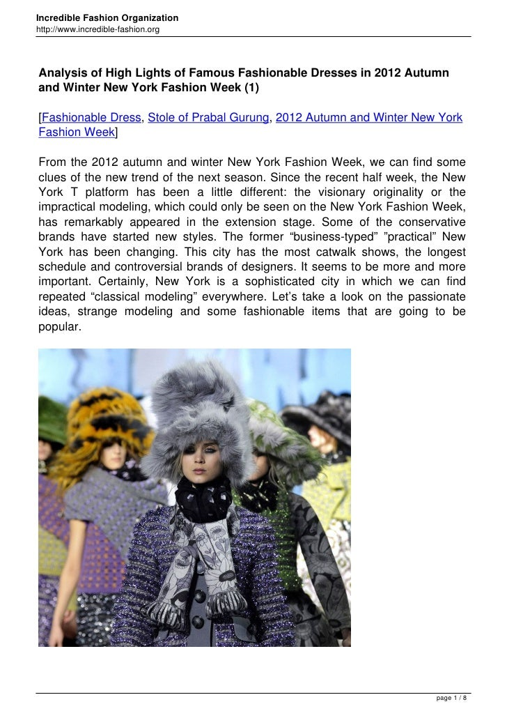 Analysis of High Lights of Famous Fashionable Dresses in 2012 Autumn and Winter New York Fashion Week (1)