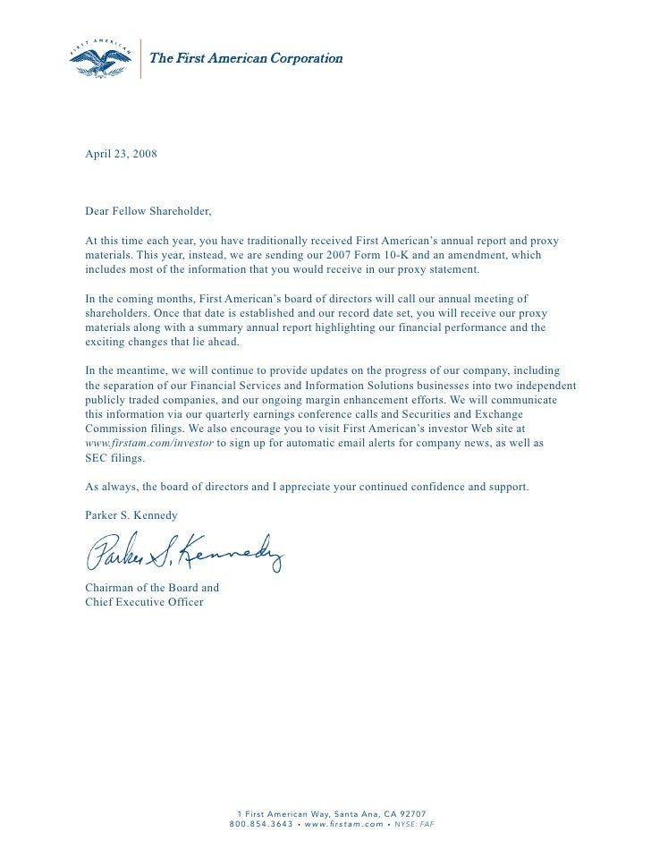 April 23, 2008    Dear Fellow Shareholder,  At this time each year, you have traditionally received First American's annua...