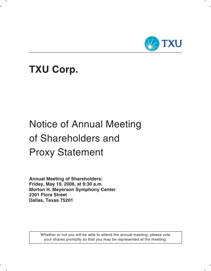 TXU Corp.     Notice of Annual Meeting of Shareholders and Proxy Statement  Annual Meeting of Shareholders: Friday, May 19...