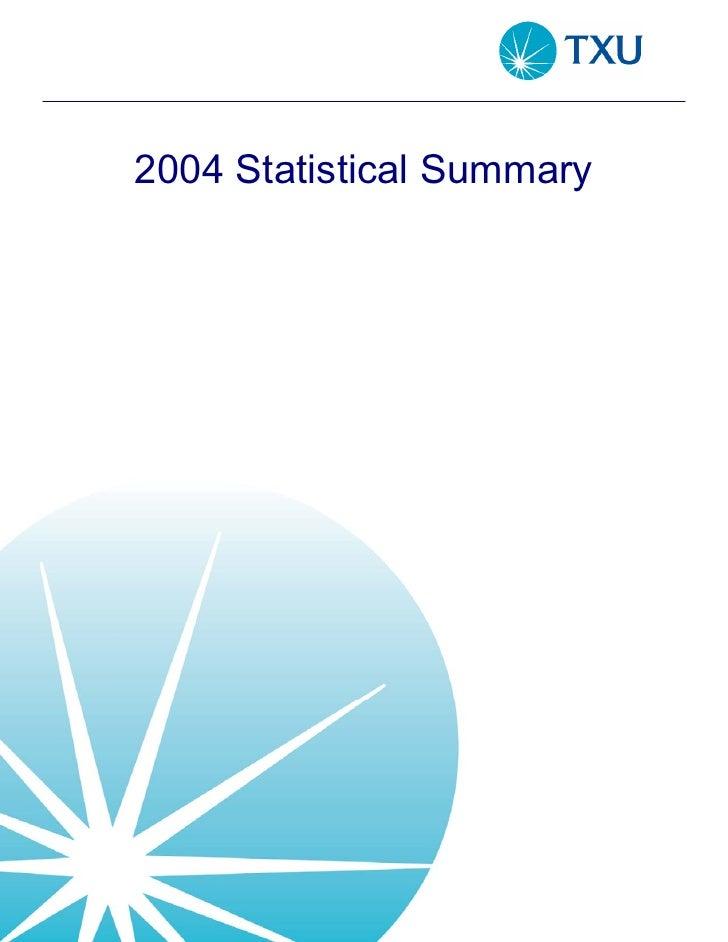 2004 Statistical Summary
