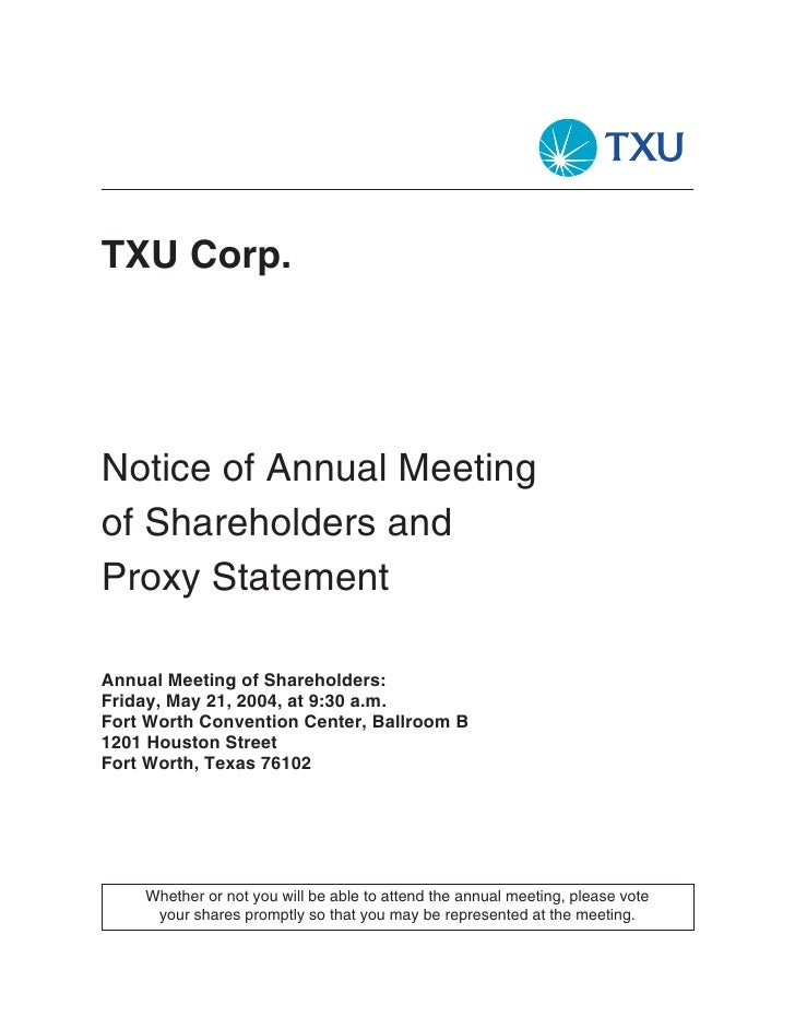 TXU Corp.     Notice of Annual Meeting of Shareholders and Proxy Statement  Annual Meeting of Shareholders: Friday, May 21...