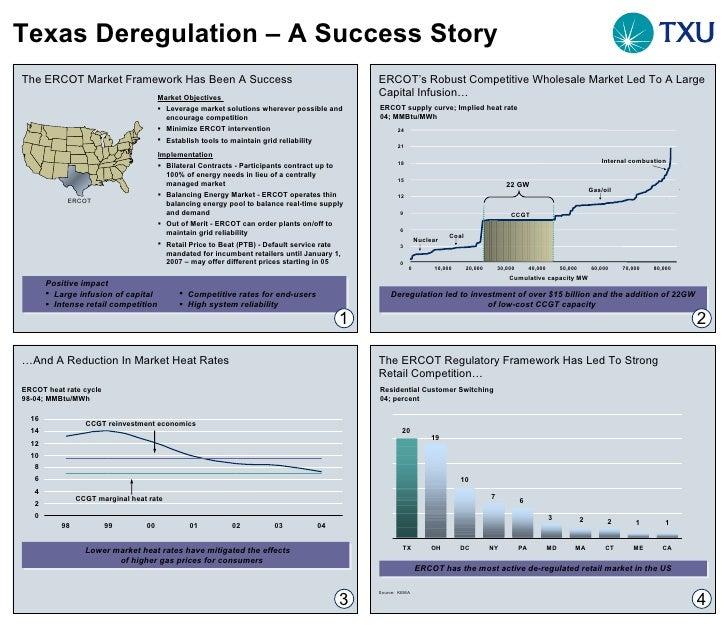 Texas Deregulation – A Success Story The ERCOT Market Framework Has Been A Success  <ul><li>Implementation </li></ul><ul><...