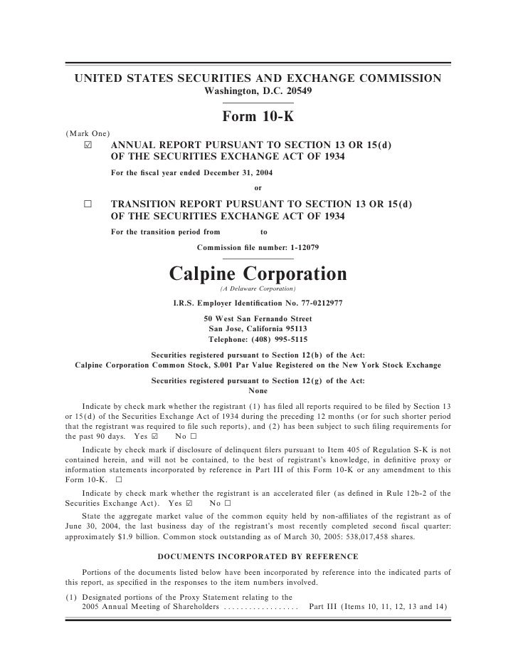 calpine 200410K