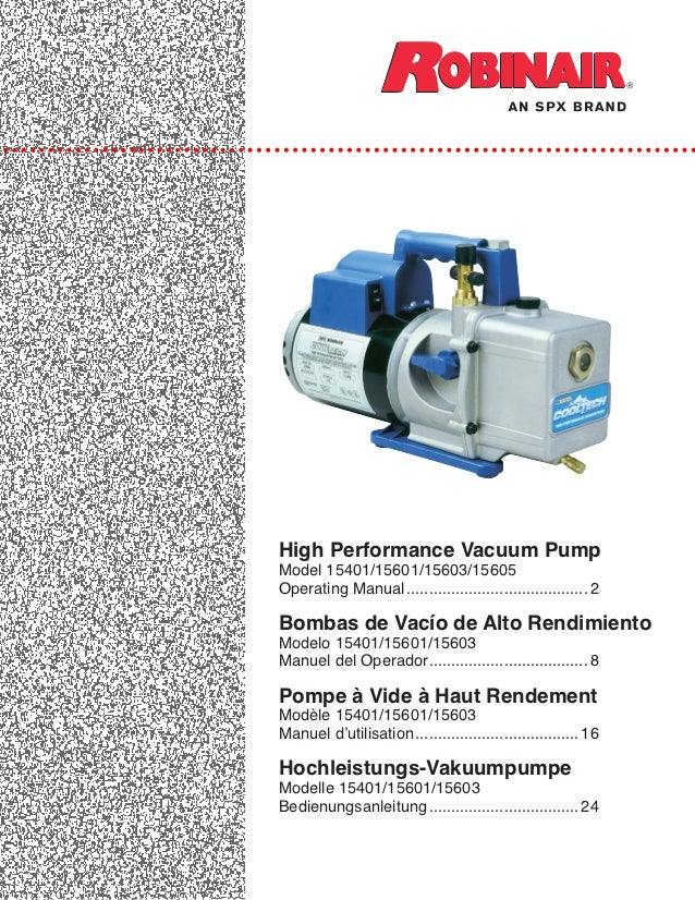 116292 e vacuum pump operating info