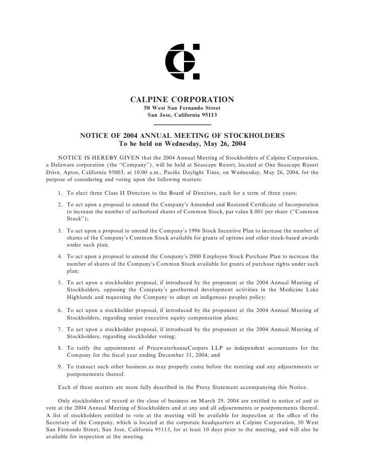 calpine  2004ProxyStatement