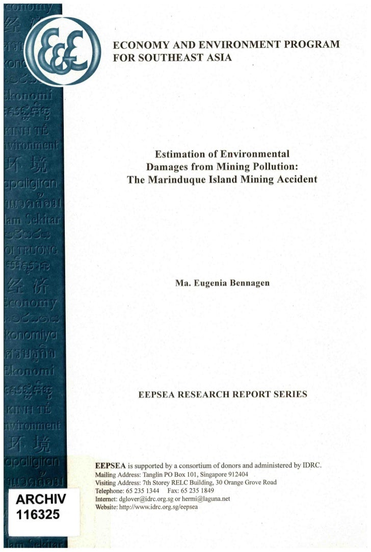 ECONOMY AND ENVIRONMENT PROGRAM      FOR SOUTHEAST ASIA                Estimation of Environmental              Damages fr...