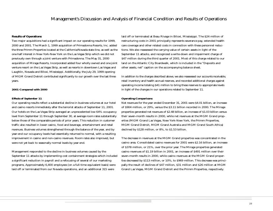 Management's Discussion and Analysis of Financial Condition and Results of Operations                                     ...