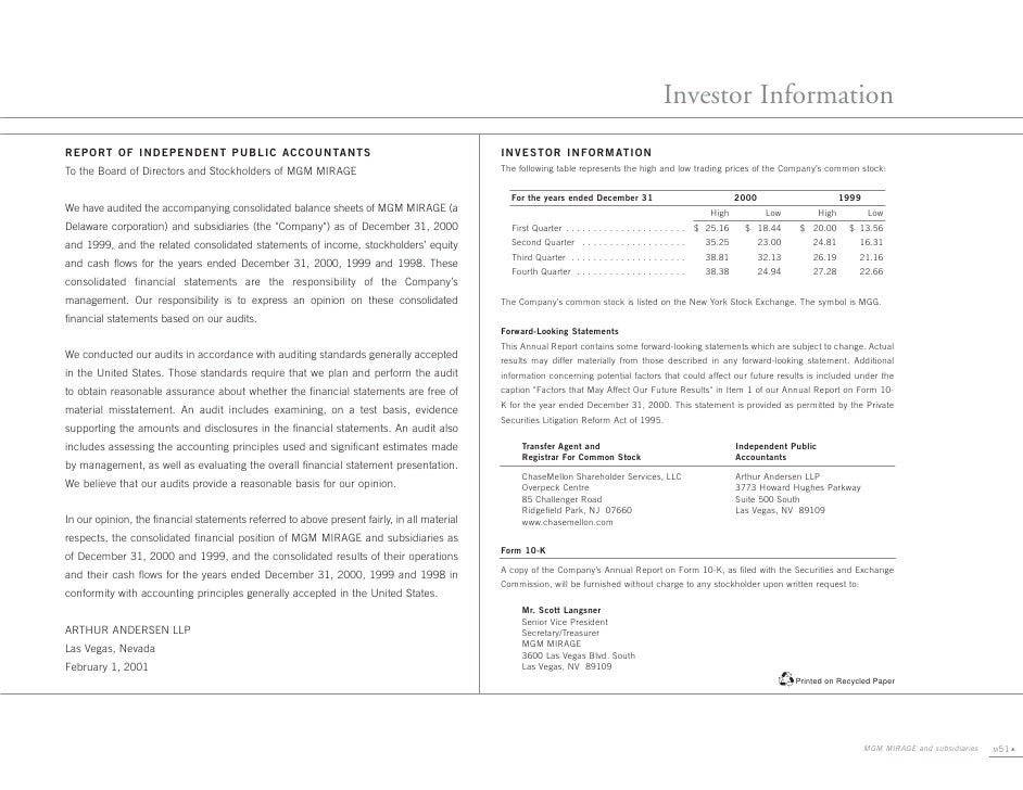 Investor Information REPORT OF INDEPENDENT PUBLIC ACCOUNTANTS                                                     INVESTOR...