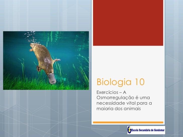Biologia 10Exercícios – AOsmorregulação é umanecessidade vital para amaioria dos animais