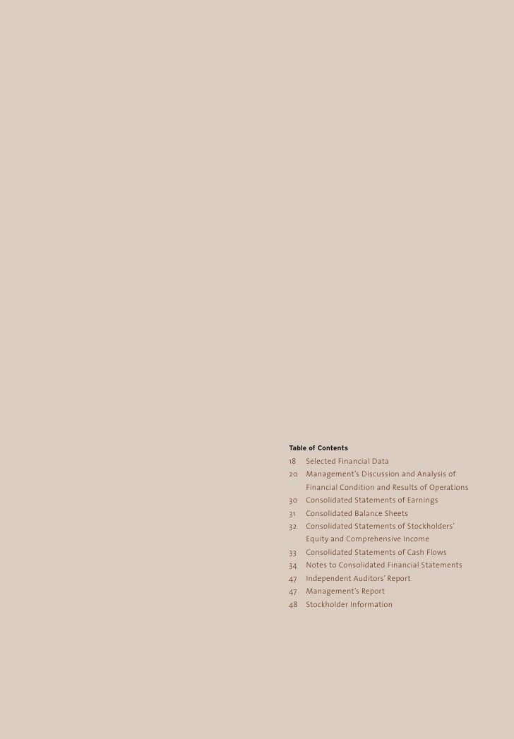 Table of Contents 18   Selected Financial Data 20 Management's Discussion and Analysis of      Financial Condition and Res...
