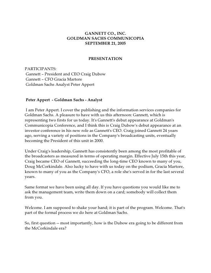 GANNETT CO., INC.                        GOLDMAN SACHS COMMUNICOPIA                             SEPTEMBER 21, 2005        ...