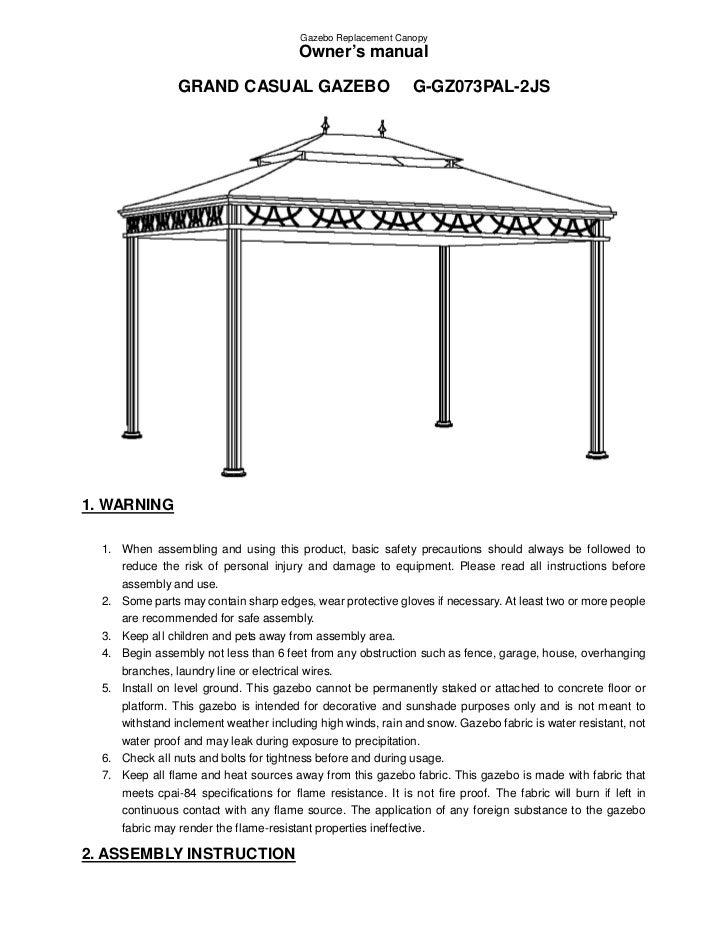 Gazebo Replacement Canopy                                        Owner's manual                GRAND CASUAL GAZEBO        ...