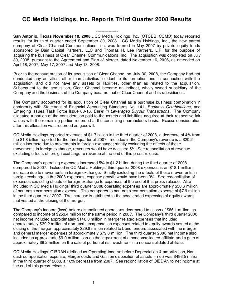 CC Media Holdings, Inc. Reports Third Quarter 2008 Results                                             ---------------- Sa...