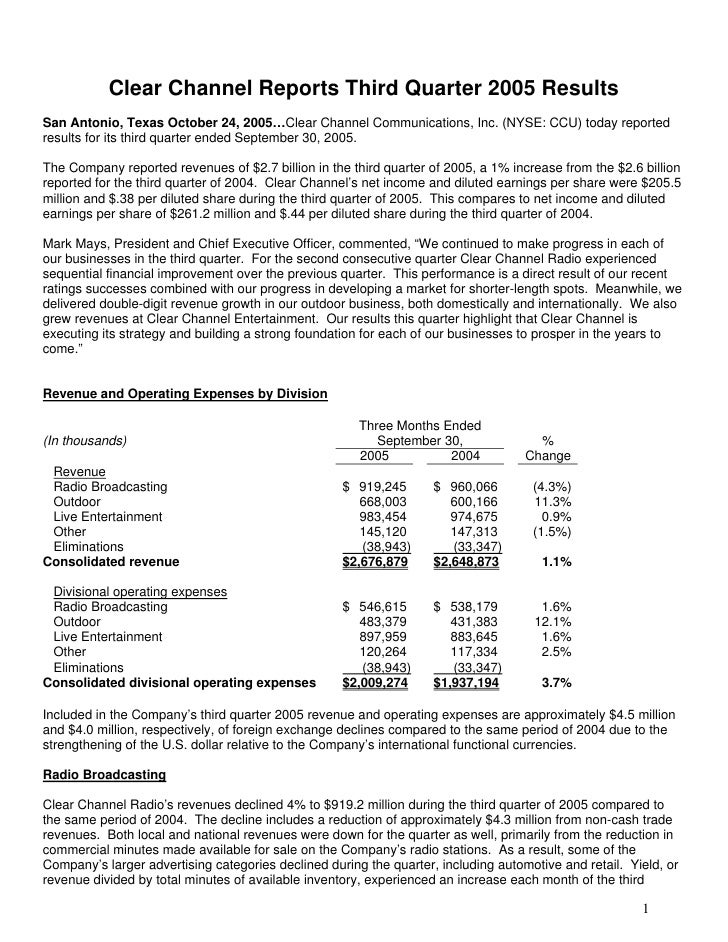 Clear Channel Reports Third Quarter 2005 Results San Antonio, Texas October 24, 2005…Clear Channel Communications, Inc. (N...