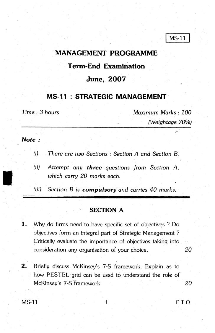 MANAGEMENT PROGRAMME                           Term-End Examination                                June, 2OO7             ...
