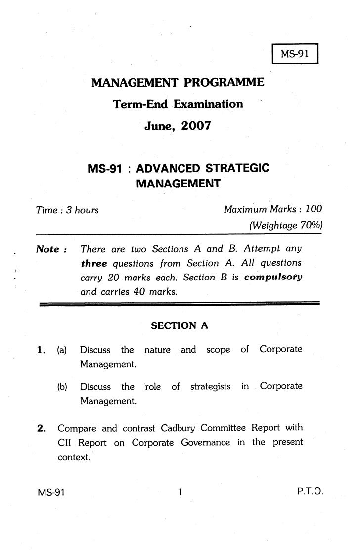 MANAGEMENT PROGRAMME                      Term-End Examination                            June, 2OO7                   MS-...