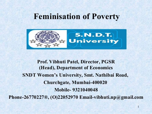 the feminization of poverty The feminisation of poverty means that a disproportionate percentage of the  world's poor are women worldwide, women earn on average.