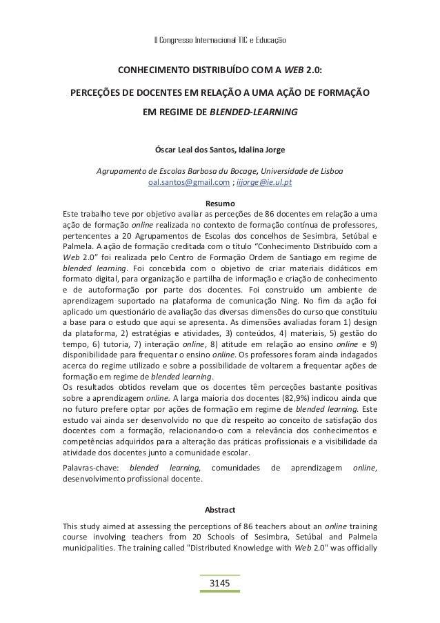 II Congresso Internacional TIC e Educação               CONHECIMENTO DISTRIBUÍDO COM A WEB 2.0:  PERCEÇÕES DE DOCENTES EM ...
