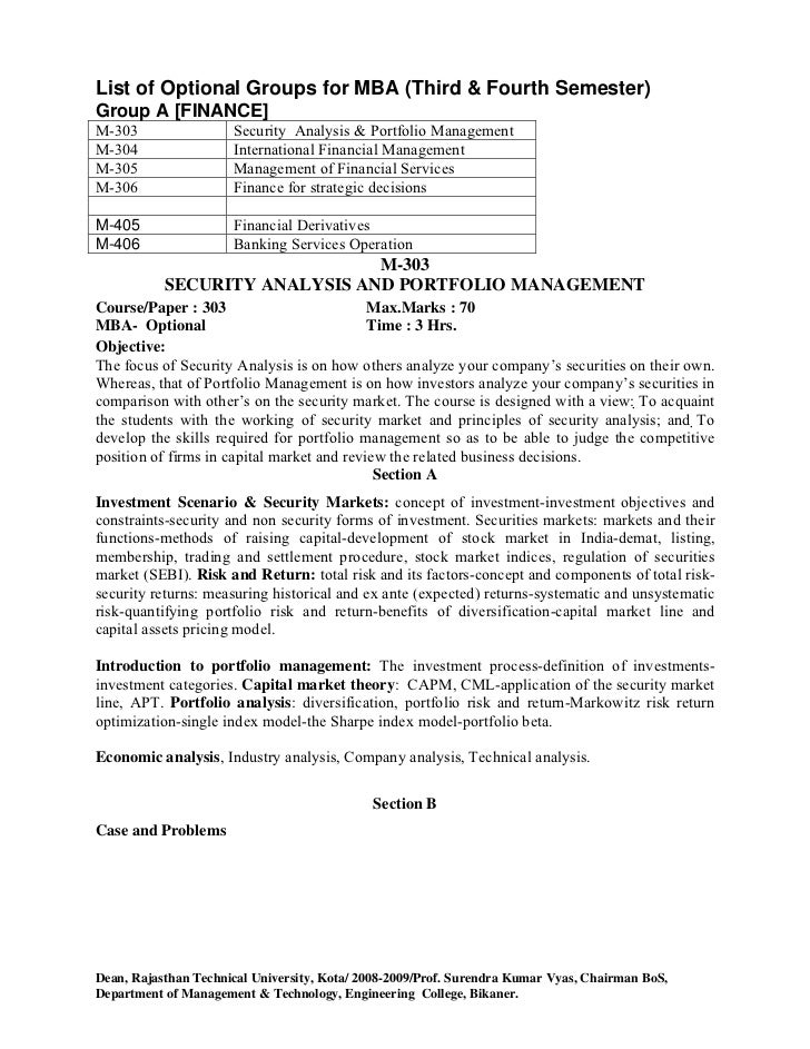 security analysis and portfolio management mba final project report 2014-2-19 mba finance project topics latest 2018 2019 i am mba final year student and searching for mba finance project topics so please help in this searching.
