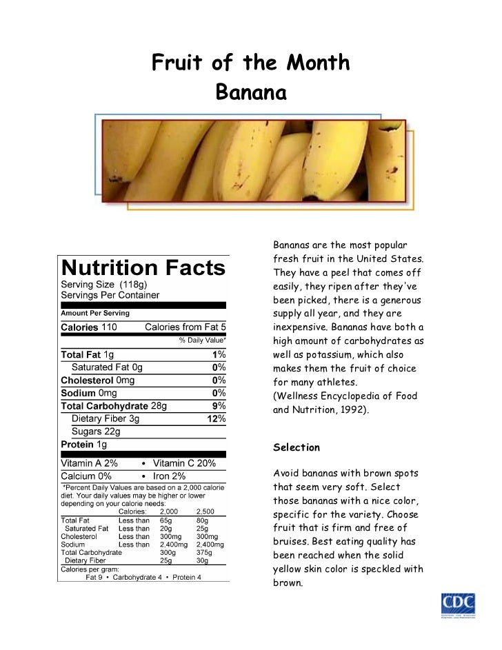 Fruit of the Month      Banana           Bananas are the most popular           fresh fruit in the United States.         ...
