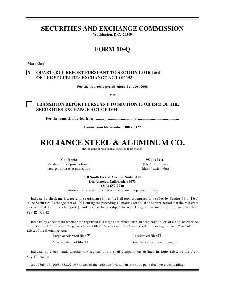 reliance steel & aluminum  Q2_2008_10Q