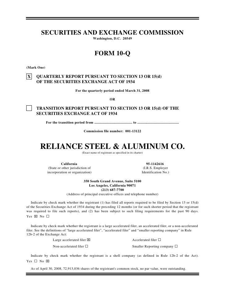 reliance steel & aluminum  Q1_2008_10Q