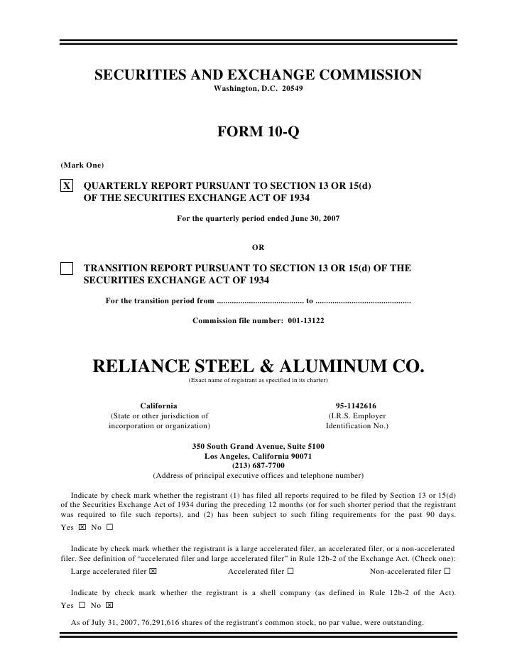 reliance steel & aluminum  Q2_2007_10Q