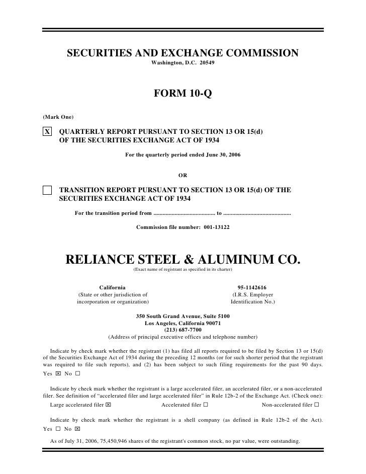Q2_2006_10-Q reliance steel & aluminum