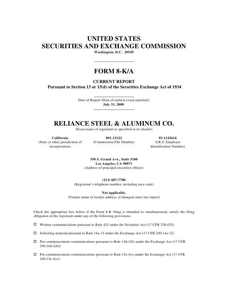 Form_8-K_2008-10-14reliance steel & aluminum