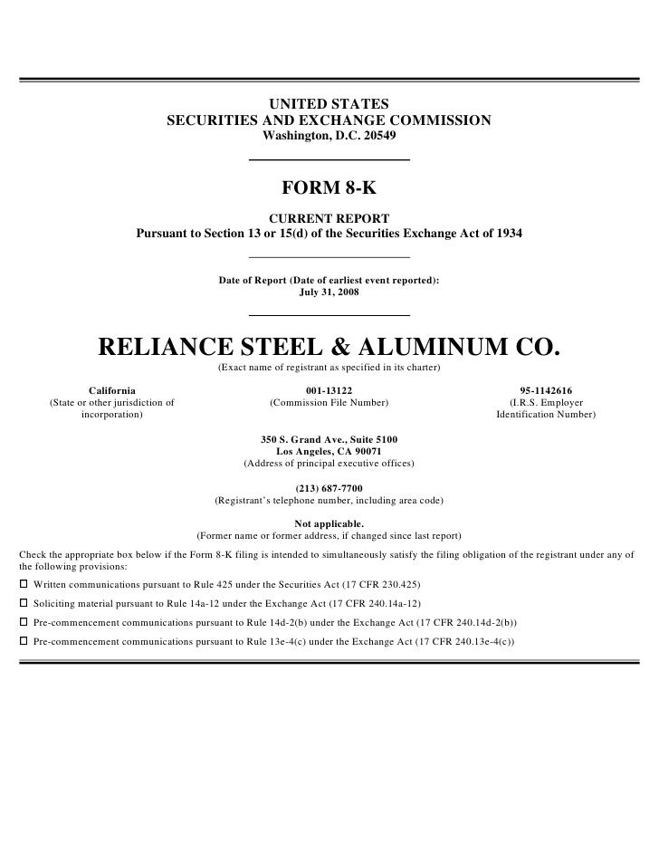 Form_8-K_2008-07-31reliance steel & aluminum